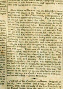 Newspaper item S&DR 1825