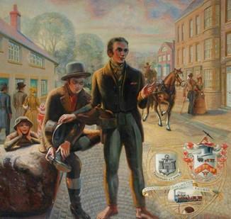 George Stephenson changing footwear