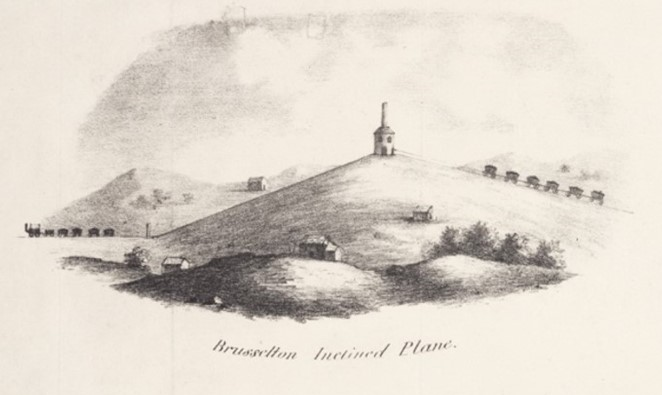 1827 lithograph showing a stylised Brusselton Incline